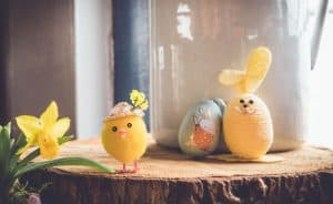 cute easter egg chick made of clay